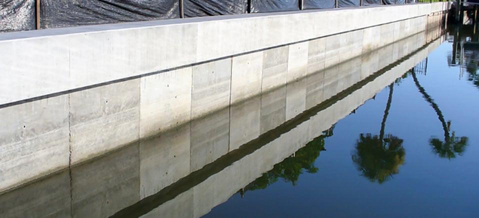 Concrete Seawall Along Florida Coast